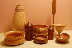 Various woodturning turned pieces